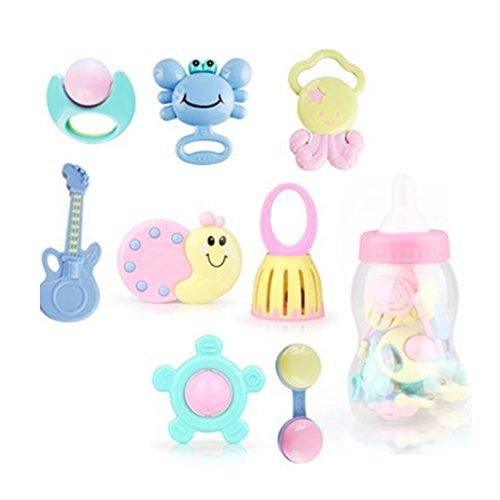 Sungpunet Set mit 9 Rasseln für Beißring, Rasselspielzeug, Babyspielzeug, Fangspielzeug, Rassel Shake Bell Set mit Aufbewahrungsbox Spielzeug 0,3,6,9,12 Monate alt Baby Junge und Mädchen, Candy Color