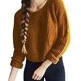 Zengbang Mode Damen Crop Top Rundhals Langarm Strickpullover Pulli Solid Warme Strick Bluse (Gelb, Asien XL)