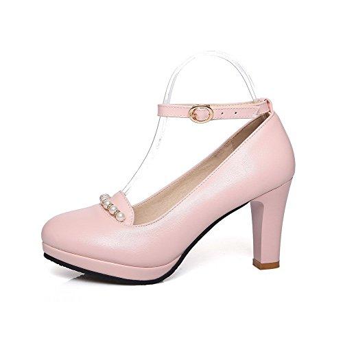 Voguezone009 Boucle Pour Femmes Bout Fermé Bout Rond Talon Haut Pur Rose Ballerines