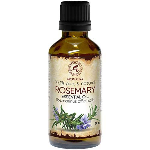 Rosmarinöl 50ml - Rosmarinus Officinalis - Spanien - 100% Naturreines Ätherisches Rosmarin Öl - Reine & Natürliche Rosemary - Guten für Aromatherapie - Duft Diffuser - Duftlampe