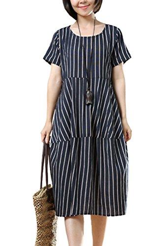 Vogstyle Damen Neuer Streifen Rundhals Baumwolle Kleider Art 3 Navy