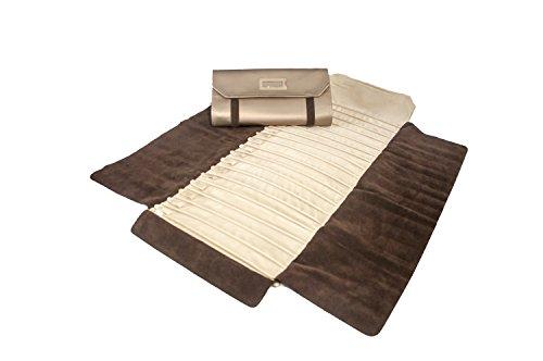Joyero-enrollable-Massano-1981-en-cuero-ecologico-bronce-satinado-especial-para-pulseras-collares-colgantes-100-fabricado-a-mano-en-Italia