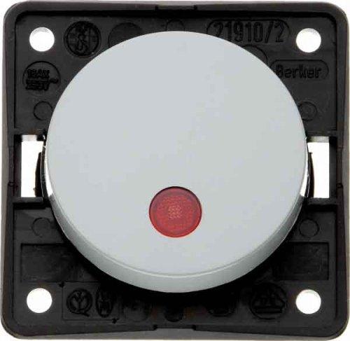 Hager INTEGRO Taster mit Pilot Objektiv Rot + Lampe Neon grau -