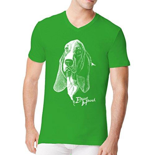 Im-Shirt - T-Shirt Basset Rassehund Hund cooles Fun Men V-Neck - verschiedene Farben Kelly Green