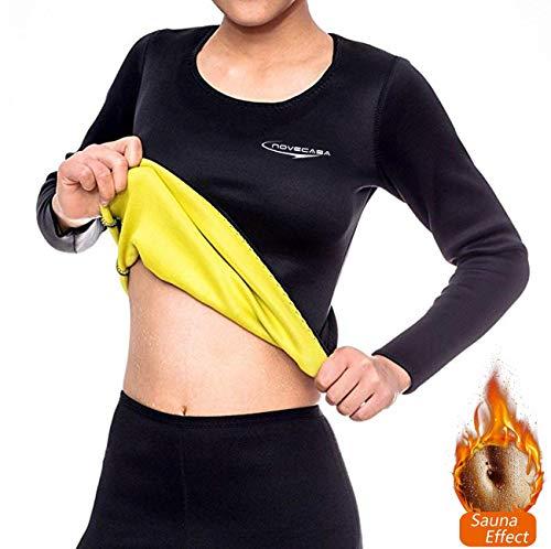 NOVECASA Sauna Langarm-Shirts Damen Neopren Hemden Sport Body Shaper Schweiß Fett zu verbrennen Bauch Abnehmen für Fitness Yoga (S, - Fett Bauch Kostüm
