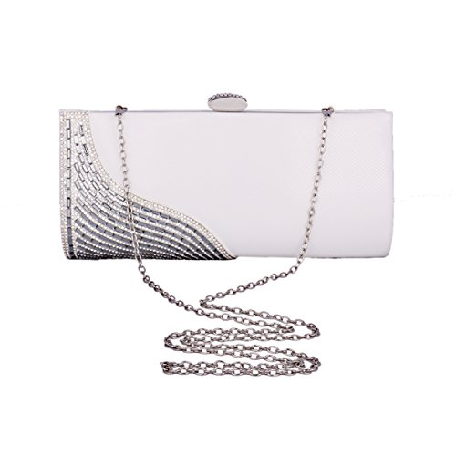 Damara® Fashion Damen Glattleder Clutch Abendtaschen Mit Strassstein Kaffee