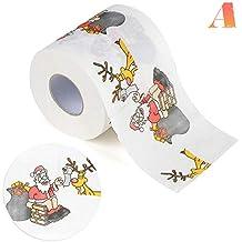 Sunneey Navidad Papel higiénico Rodillo, Modelo 3D de Papá Noel árbol de Navidad Estampado de