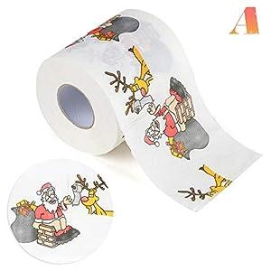 Rejoicing Weihnachts-Toilettenpapier, Drucke, lustiges Weihnachts-Muster, für Zuhause, Küche, Wohnzimmer, Badezimmer, als Dekoration