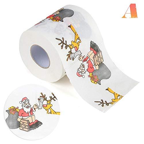 eginvic Weihnachtstoilettenpapier Weihnachtsrolle Papier Santa Claus Toilettenpapier Bedrucktes Toilettenpapier Geeignet Für Familien, Cafés, Geschäfte, Restaurants Usw. approving