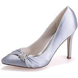Sarahbridal Damen Hoch Absatz Abendschuhe Hochzeit Plateau Pumps mit Kristall SZXF0608-23 Silber EU37