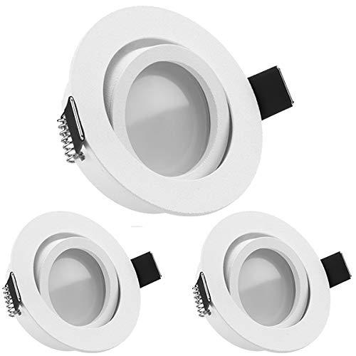 3er LED Einbaustrahler Set Weiß matt mit LED GU10 Markenstrahler von LEDANDO - 5W DIMMBAR - warmweiss - 110° Abstrahlwinkel - schwenkbar - 35W Ersatz - A+ - LED Spot 5 Watt - Einbauleuchte LED rund -