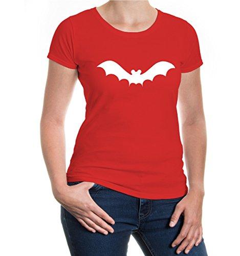 buXsbaum® Girlie T-Shirt Fledermaus-Tier-Silhouette Red-White
