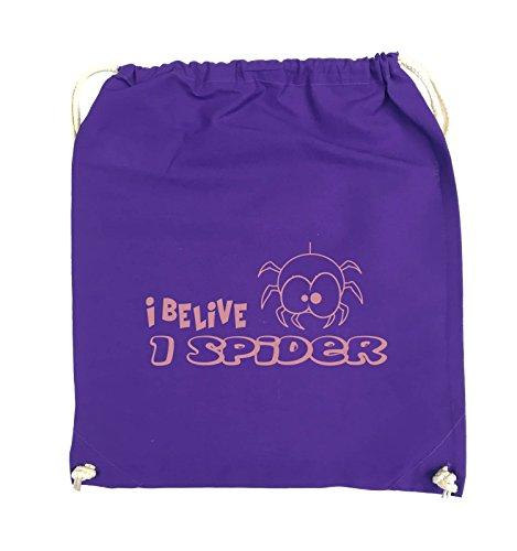Comedy Bags - I BELIEVE I SPIDER - Turnbeutel - 37x46cm - Farbe: Schwarz / Pink Lila / Rosa