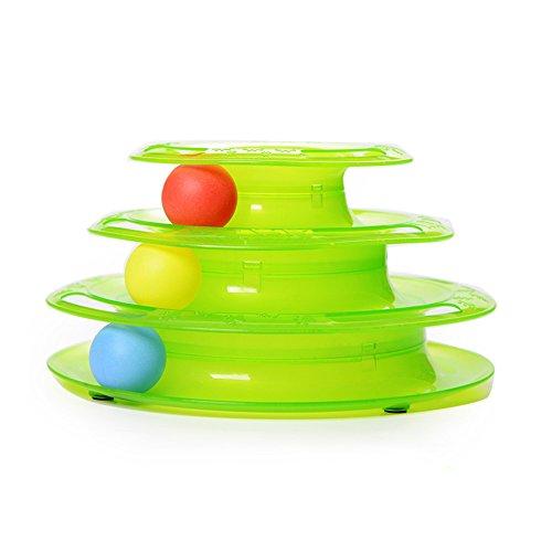 3 étages Jouet pour animaux domestiques Animaux Jouet Chat & Chien Jeu de disque (Vert)