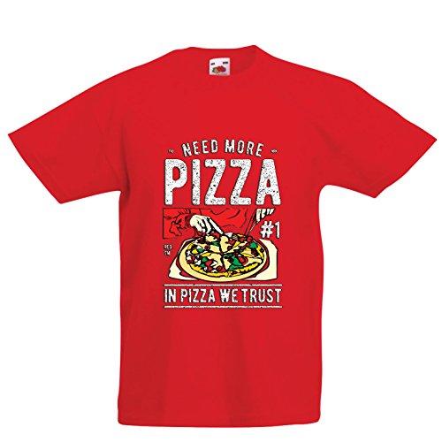 lepni.me Kinder Jungen/Mädchen T-Shirt In der Pizza Vertrauen wir - lustiger Pizzaliebhaber Zitat, italienisches Spaß-Geschenk (3-4 Years Rot Mehrfarben)
