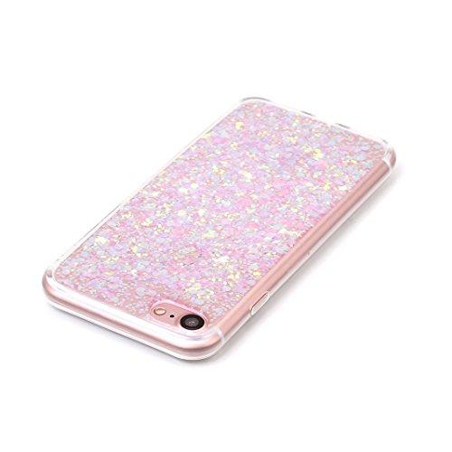 OuDu iPhone 7 Hülle, Glitzern Funkeln Hülle TPU Silicone Etui für iPhone 7 Bling Glitter Case Sparkle Style Cover Soft Lightweight Bumper Flexible Schlanke Schale Glatte Leichte Tasche Ultra Dünne Etu Rosa