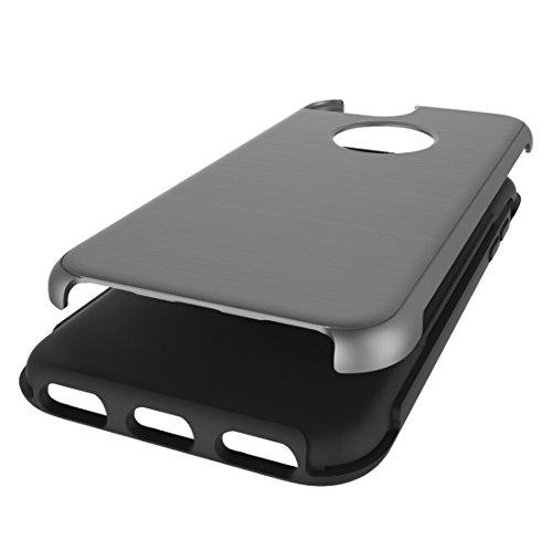 Einfache gebürstete Textur 2 in 1 PC + TPU Kombination Schutzhülle für iPhone 7 by diebelleu ( Color : Magenta ) Grey