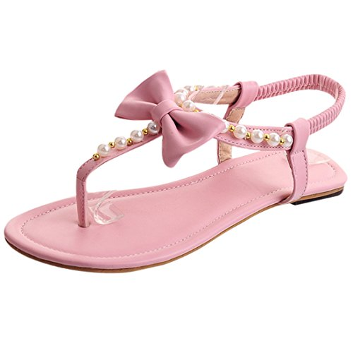 YE Frauen öffnen Zehe Thong Flache Perlen T-Strap Strand Riemchen Sandalen mit Schleife Flip Flops Schuhe Rosa