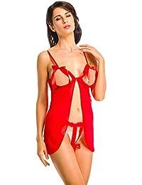 Amoretu Nuisette Sexy Femme Erotique Lingerie Licou Dentelle Robe Babydoll Vêtement de Nuit