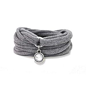 Armband Wickelarmband Stoff grau oder Wunschfarbe 60 Varianten Anhänger Strass-Stein silber individuelle Geschenke