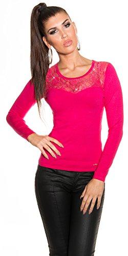 Pull en maille fine pull pour femme avec dentelle et strass taille unique (32 à 38) Rose - Rose bonbon