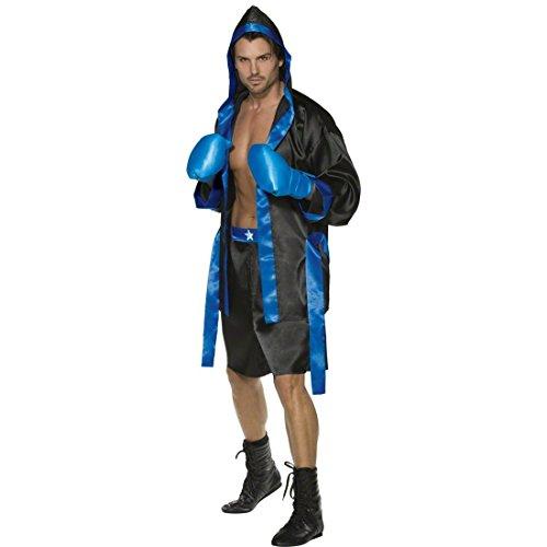 Nette Boxer Kostüm - NET TOYS Boxer Kostüm schwarz-blau M 48/50 Ringer Kostümset Sportler Boxerkostüm Klitschko Box Herrenkostüm Tyson Boxring Männerkostüm