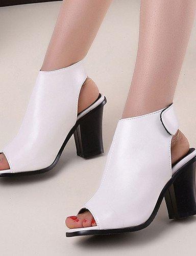 UWSZZ IL Sandali eleganti comfort Scarpe Donna-Sandali / Scarpe col tacco-Tempo libero / Formale / Casual-Tacchi / Spuntate-Quadrato-Finta pelle-Nero / Bianco / Grigio gray