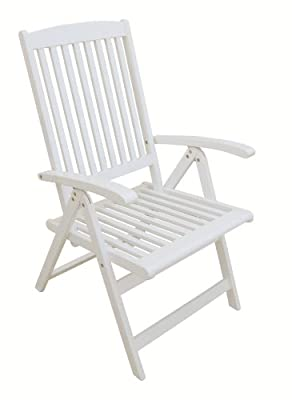 Garden Pleasure 965017 Hochlehner Toledo, 5-fach verstellbar Akazie, lackiert, weiß