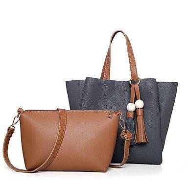 Women Shoulder Bag PU All Seasons Casual Event/Party Shopper Ruffles Zipper Brown Aquamarine Gray Ruby Black,Gray