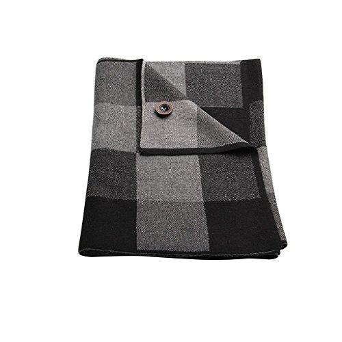 Warmpalm Foulards, Foulards pour hommes Echarpes en laine mélangée ( couleur : Black And Gray ) Black And Gray