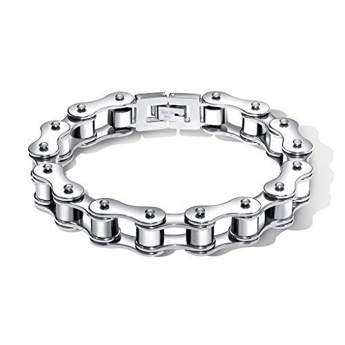 Metallic Scroll (XinChen Kreative Scroll Fahrradkette Armband, Männer 12 Mm Lokomotive Kette Armband Metall Taigang Schmuck Geschenk,Metallic)