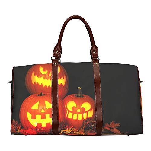 Reise-Seesack Halloween-Kürbis mit brennenden Kerzen wasserdichte Weekender-Tasche Reisetasche Damen-Einkaufstasche Mit Mikrofaser-Leder-Gepäcktasche (So Nicht Halloween-buch Gruselig)