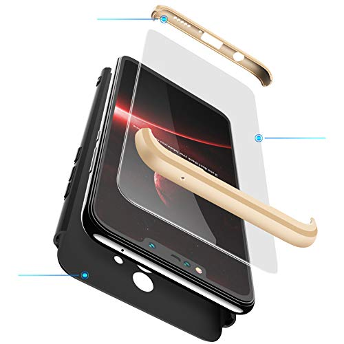 xinyunew Funda Xiaomi Mi Mix 2,360 Grados Protección Case + Pantalla de Cristal Templado,3 in 1 Anti-Arañazos Carcasa Case Caso Fundas teléfonos Móviles para Xiaomi Mi Mix 2 Oro Negro
