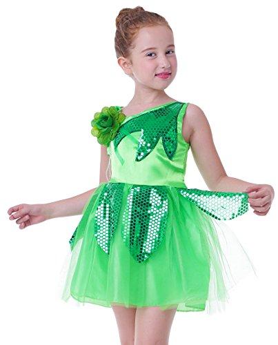 Mädchen Kind Schule zeigt Outfit Tanzkostüme kleiden Karneval Halloween (Grün, (Schule Mädchen Outfits)