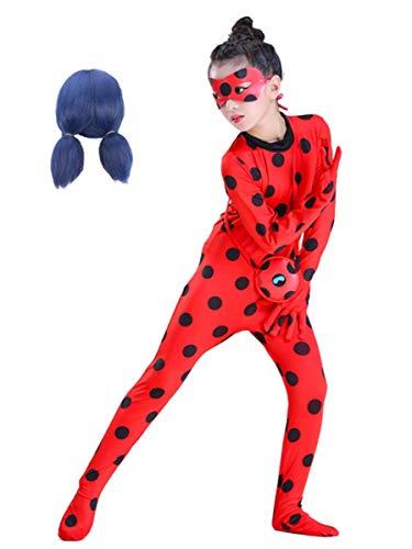 EMIN Kinder Mädchen Miraculous Ladybug Kostüm Darstellende Overall Cosplay Schick Party Ankleiden Halloween Karneval Geburtstag Langarm Pailletten Polka Dots Overall Augenmaske + Tasche + Perücke 4Pcs (Alte Tasche Lady Kostüm)