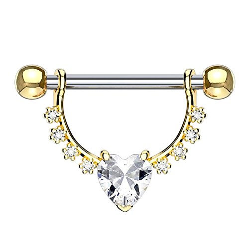 beyoutifulthings Brustwarzen-piercing GROSSES HERZ Intim-piercing Brust-piercing EDELSTAHL Gold Clear Stab 1,6mm 12mm