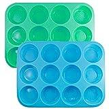 Molde de silicona para magdalenas y magdalenas, apto para microondas y para magdalenas, 2 unidades, alta calidad, antiadherente y lavavajillas