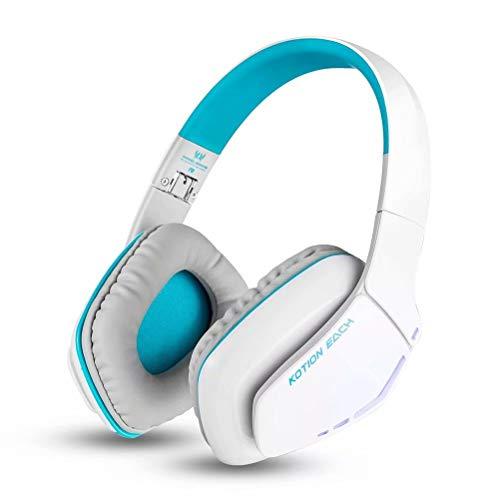 Preisvergleich Produktbild CSZH Bluetooth Wireless Gaming Kopfhörer Headban Headset mit Mikrofon-Headset mit verbesserter Klangqualität und besserem Equalizationfor iPhone Samsung Smartphone (Weiß Blau)