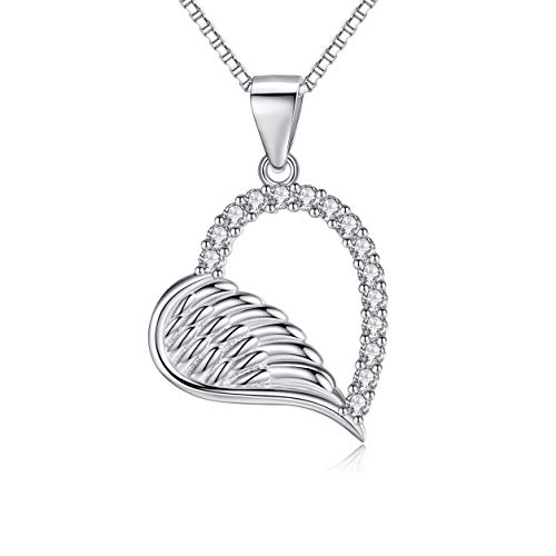 RED TREE Halsketten für Frauen, Engelsflügel Herzkette Silber 925, Zirkonia Herz Anhänger Halskette, Design Implikation - Werde ein Engel der Dich Liebt und Beschützt (#2) (Outfit Ideen Weiblichen)