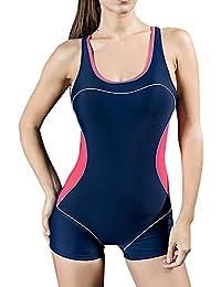 Bañador Pieza Mujer - Traje de Baño - Competición - con Pantalones Cortos