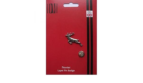 Springing Stag English Pewter Lapel Pin Badge XTSPBA60