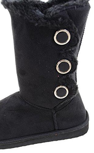 fourever Funky Femme Fourrure Bouton plat en artificiel daim chaud chaussons Bottes Noir - noir