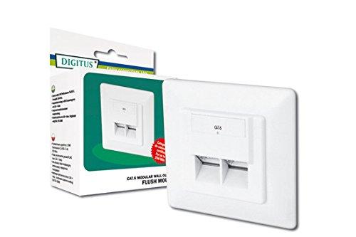 Busch-universal-licht (DIGITUS Professional Cat.6 Universal Netzwerkdose, 2x RJ-Port, geschirmt, Unterputz, 1 Gbit Ethernet Netzwerk, Farbe Reinweiß)