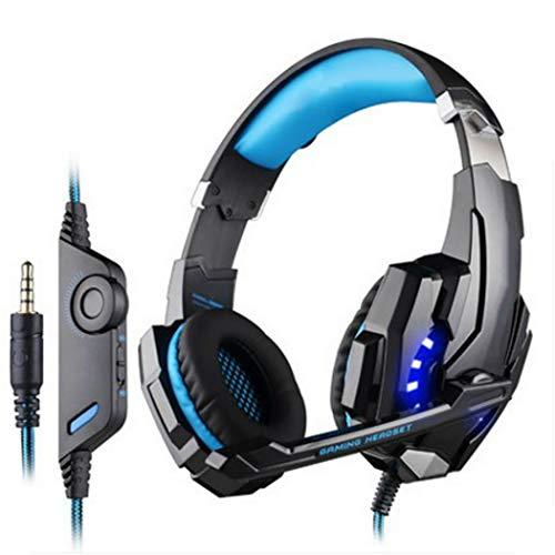 Mzq-yq Headset Computer Gaming Kopfhörer, hautfreundliche Ledertasche 3,5 mm + USB-Einlochkopfhörer für PS4, Laptop und andere Einlochgeräte (Farbe : Blau)
