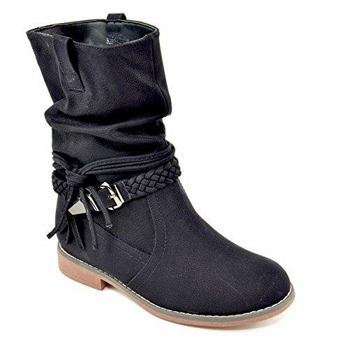 King Of Shoes Damen Stiefeletten Stiefel Schnalle Flache Schlupf Biker Boots Blockabsatz BZ28 (36, Schwarz)