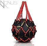 PREMIUM Ballnetz 1 Ball [ROBUST & HOCHWERTIG] Balltragenetz Ball Carry Net [5 mm dick] passend für verschiedene Ballgrößen [Fußball - Volleyball - Basketball - Medizinball] [besonders belastungsfähig mit Edelstahlring] rot-schwarz von Novus Via