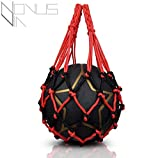 Novus Via Premium Ballnetz 1 Ball [ROBUST & HOCHWERTIG] Balltragenetz Ball Carry Net [5 mm dick] Passend Für Verschiedene Ballgrößen [Besonders Belastungsfähig Mit Edelstahlring] Rot-Schwarz