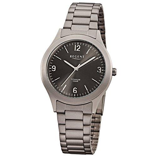 Regent montre bracelet titane Homme Montre de collection de montres pour homme avec Titan (Métal)–Bracelet gris argent analogique à quartz d1urf838