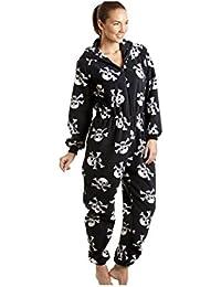 Camille Damen Schlafanzug-Einteiler aus Fleece - Totenkopf-Print Schwarz und Weiß - Größen 38-52