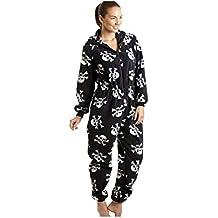 04ec612db8 Camille Damen Schlafanzug-Einteiler aus Fleece - Totenkopf-Print Schwarz  und Weiß - Größen